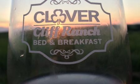 Clover Cliff Ranch etched wine glasses